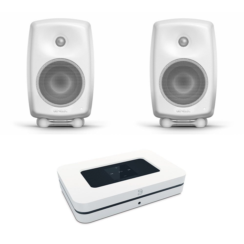 Genelec kaiutin ja Bluesound Node 2